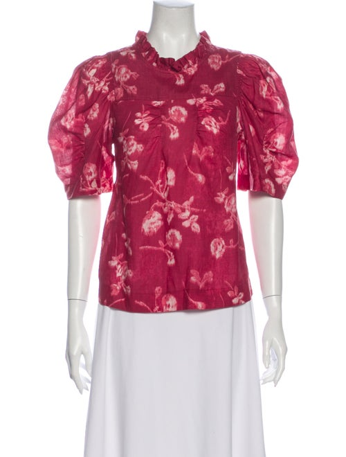 Sea New York Floral Print Mock Neck Button-Up Top