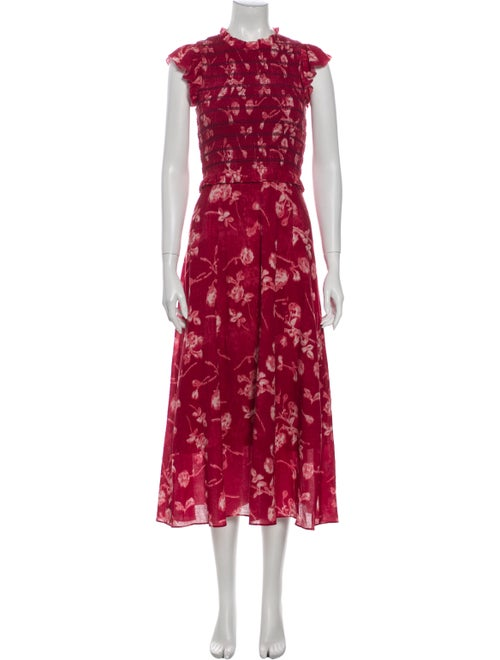 Sea New York Floral Print Long Dress Red