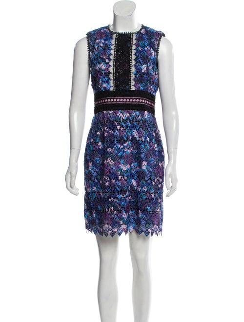 Saloni Lace Pattern Mini Dress Blue
