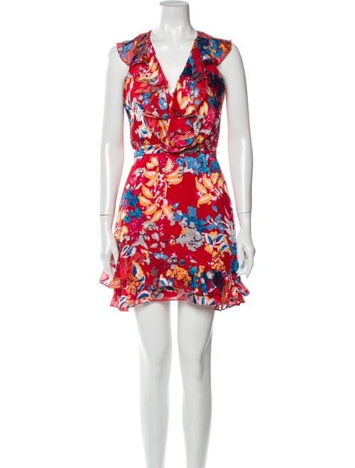 Saloni Floral Print Mini Dress Red