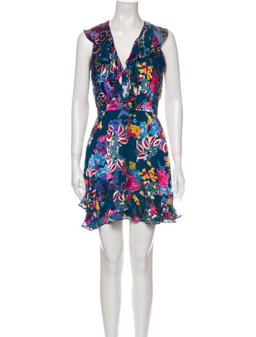 Saloni Floral Print Mini Dress Blue