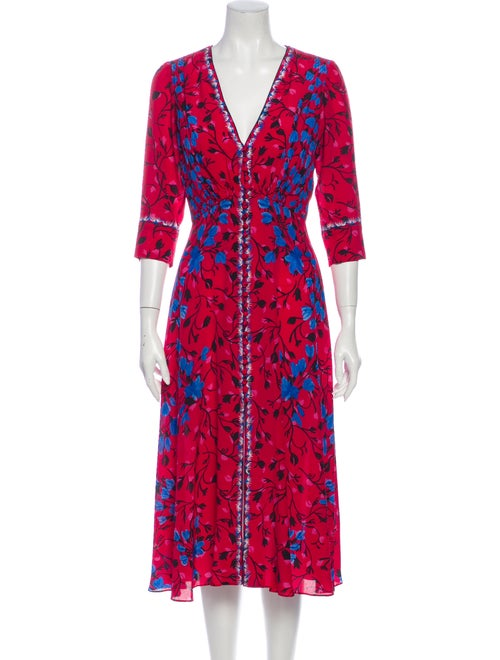 Saloni Silk Midi Length Dress Red