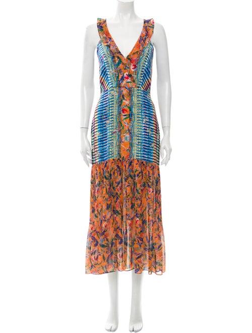 Saloni Silk Long Dress Orange