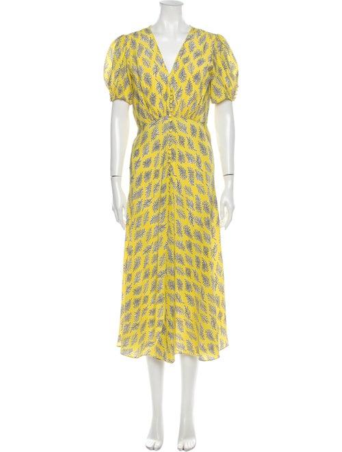 Saloni Silk Long Dress Yellow