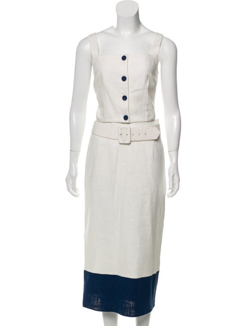 Staud Linen Skirt Set White