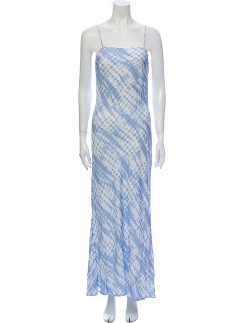 Staud Printed Long Dress Blue