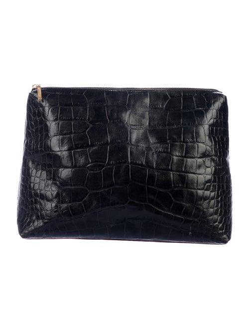 Staud Embossed Leather Clutch Black