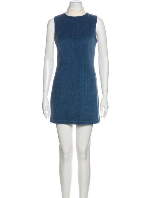 Staud Mock Neck Mini Dress Blue