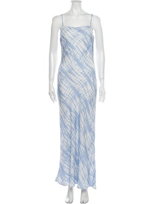 Staud Tie-Dye Print Long Dress Blue