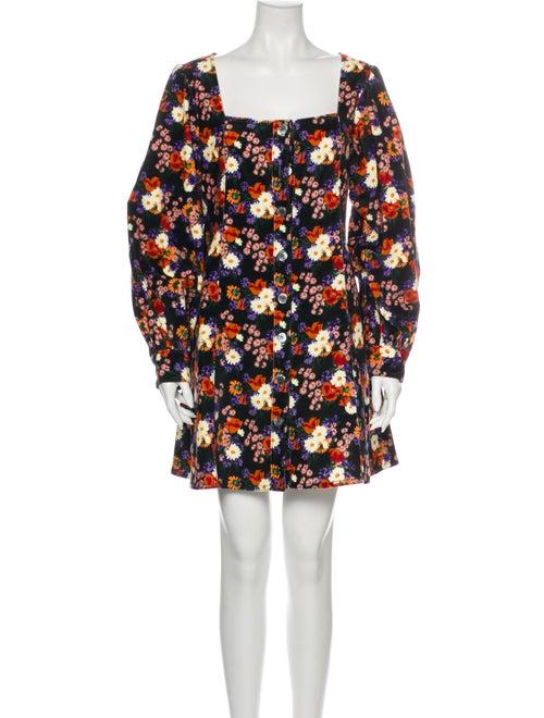 Staud Floral Print Mini Dress Black