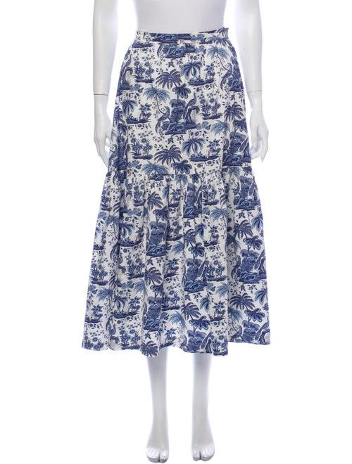 Staud Printed Midi Length Skirt Blue