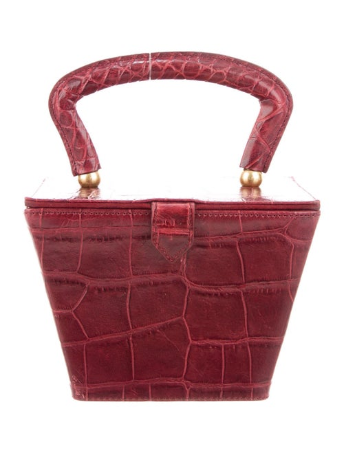 Staud Crocodile Handle Bag Gold