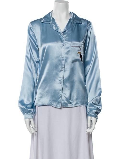 Staud Long Sleeve Button-Up Top Blue