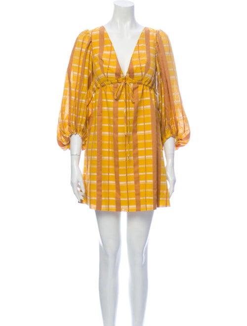 Staud Plaid Print Mini Dress Yellow