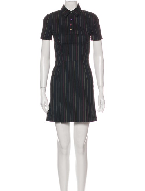Staud Striped Mini Dress Black