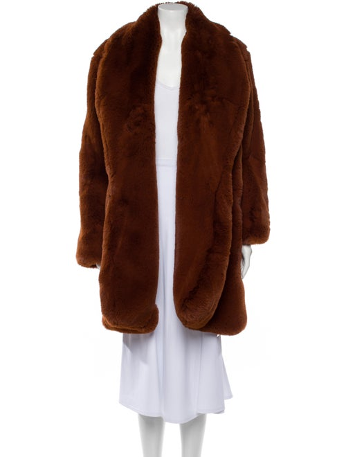 Staud Faux Fur Coat Brown