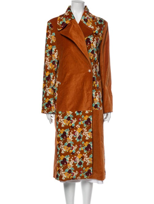 Staud Floral Print Coat Orange
