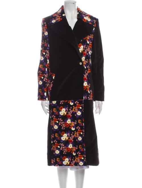 Staud Floral Print Coat Black