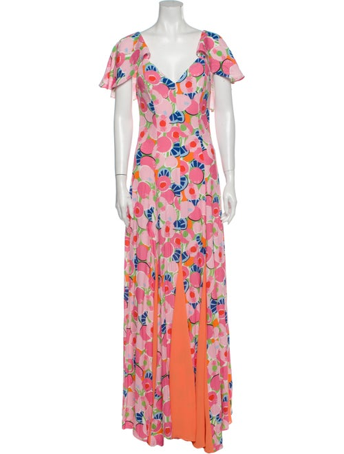 Staud Printed Long Dress Pink