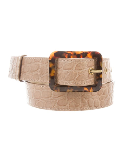 Staud Alligator Belt Gold