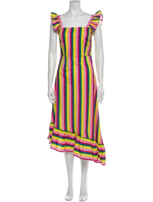 Staud Striped Long Dress Yellow