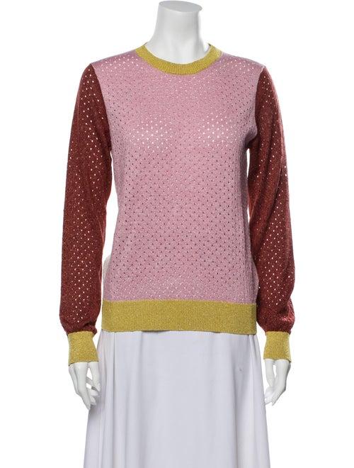 Stine Goya Colorblock Pattern Crew Neck Sweater Pi