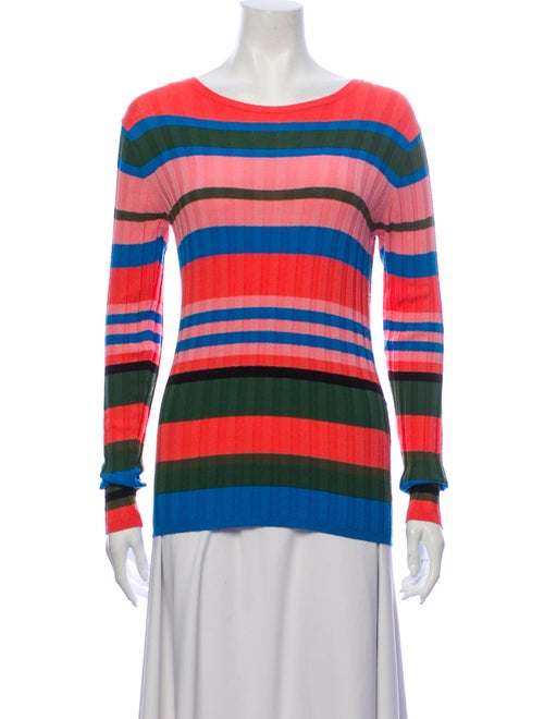 Stine Goya Striped Scoop Neck Sweater Pink