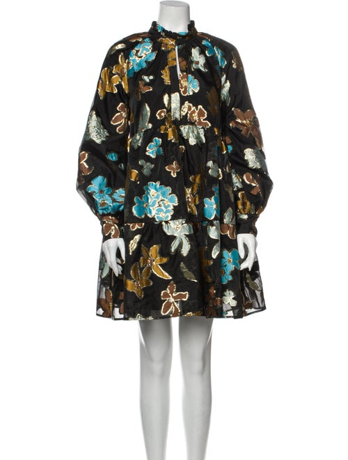 Stine Goya Floral Print Mini Dress Black