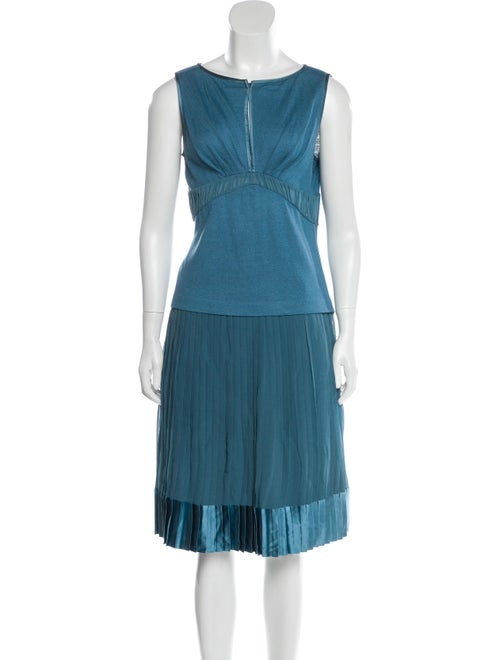 St. John Couture Silk Pleated Accents Skirt Set Bl