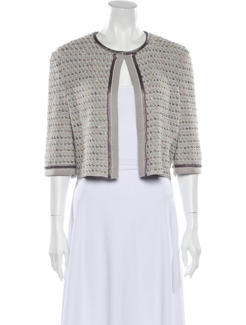 St. John Couture Tweed Pattern Jacket Grey