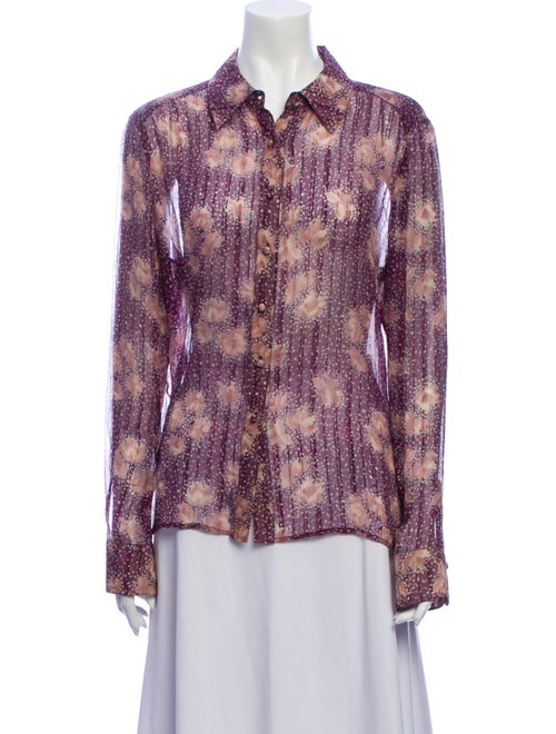 St. John Couture Silk Printed Button-Up Top Purple