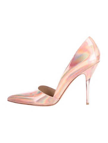 Iridescent Pointed-Toe Pumps