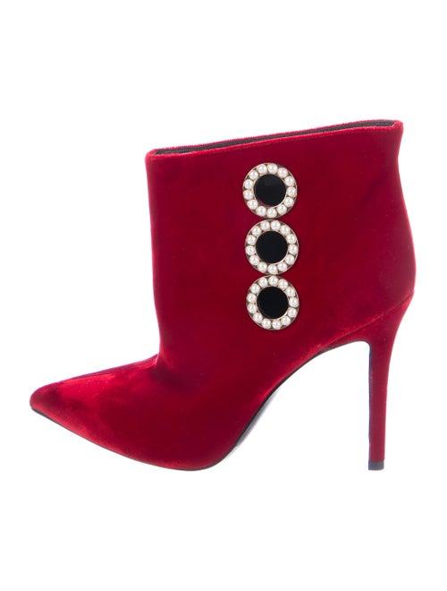 Stella Luna Velvet Ankle Boots Red