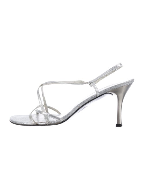 Stuart Weitzman Glitter Slingback Sandals Silver