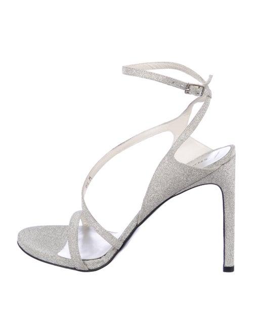 Stuart Weitzman Glitter Ankle Strap Sandals Silver
