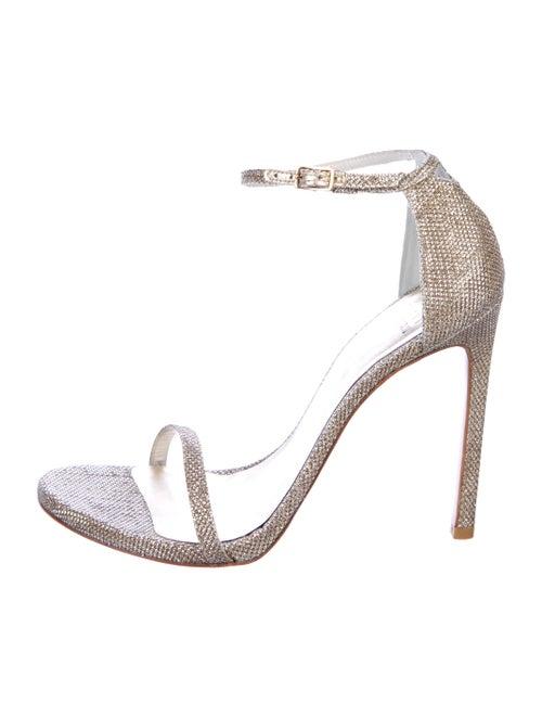 Stuart Weitzman Glitter Ankle Strap Sandals Gold