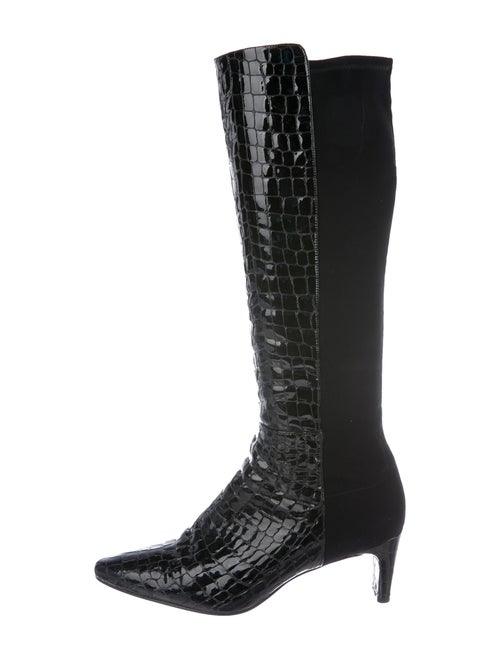 Stuart Weitzman Embossed Knee-High Boots Black