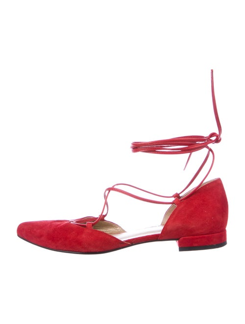 Stuart Weitzman Suede Ballet Flats Red