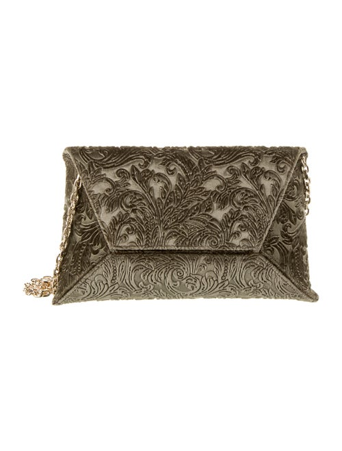 Stuart Weitzman Embroidered Velvet Envelope Clutch