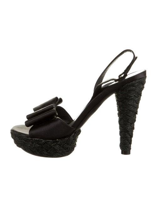 Stuart Weitzman Satin Platform Sandals Black
