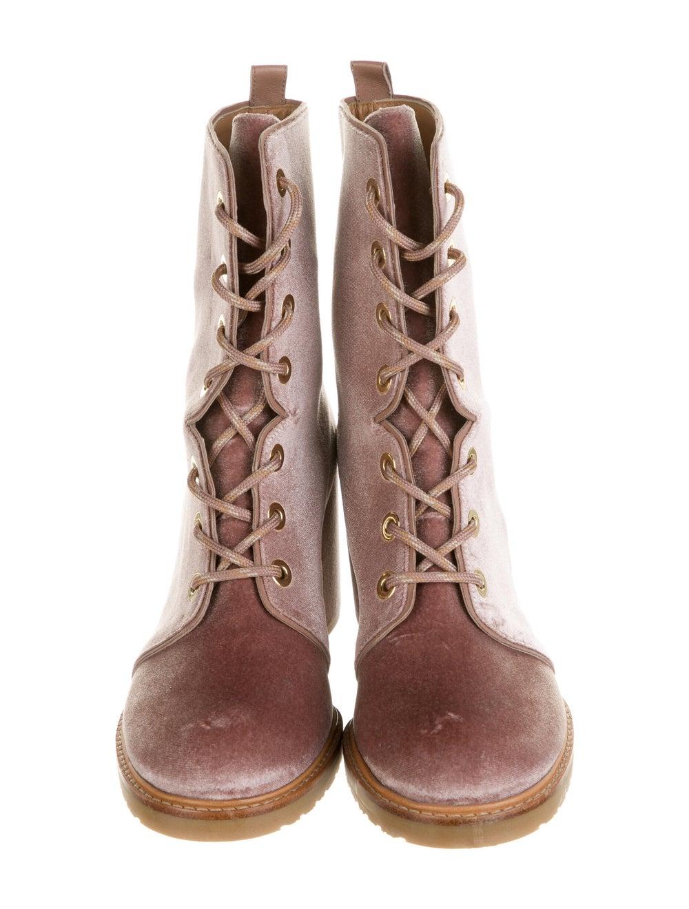 Stuart Weitzman Lace-Up Boots Pink - image 3