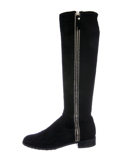 Stuart Weitzman Suede Riding Boots Black