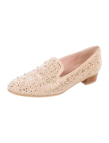 Stuart Weitzman Suede Studded Accents Loafers