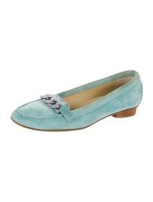 Stuart Weitzman Suede Crystal Embellishments Loafers