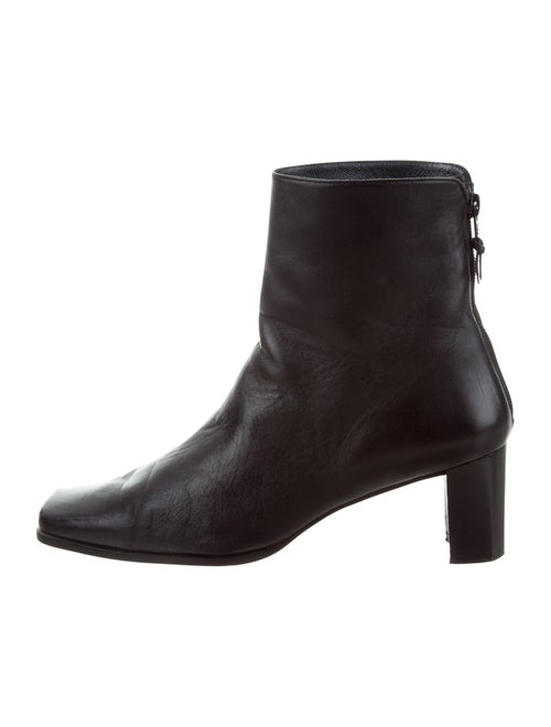 Stuart Weitzman Leather Square-Toe Ankle Boots Bl… - image 1