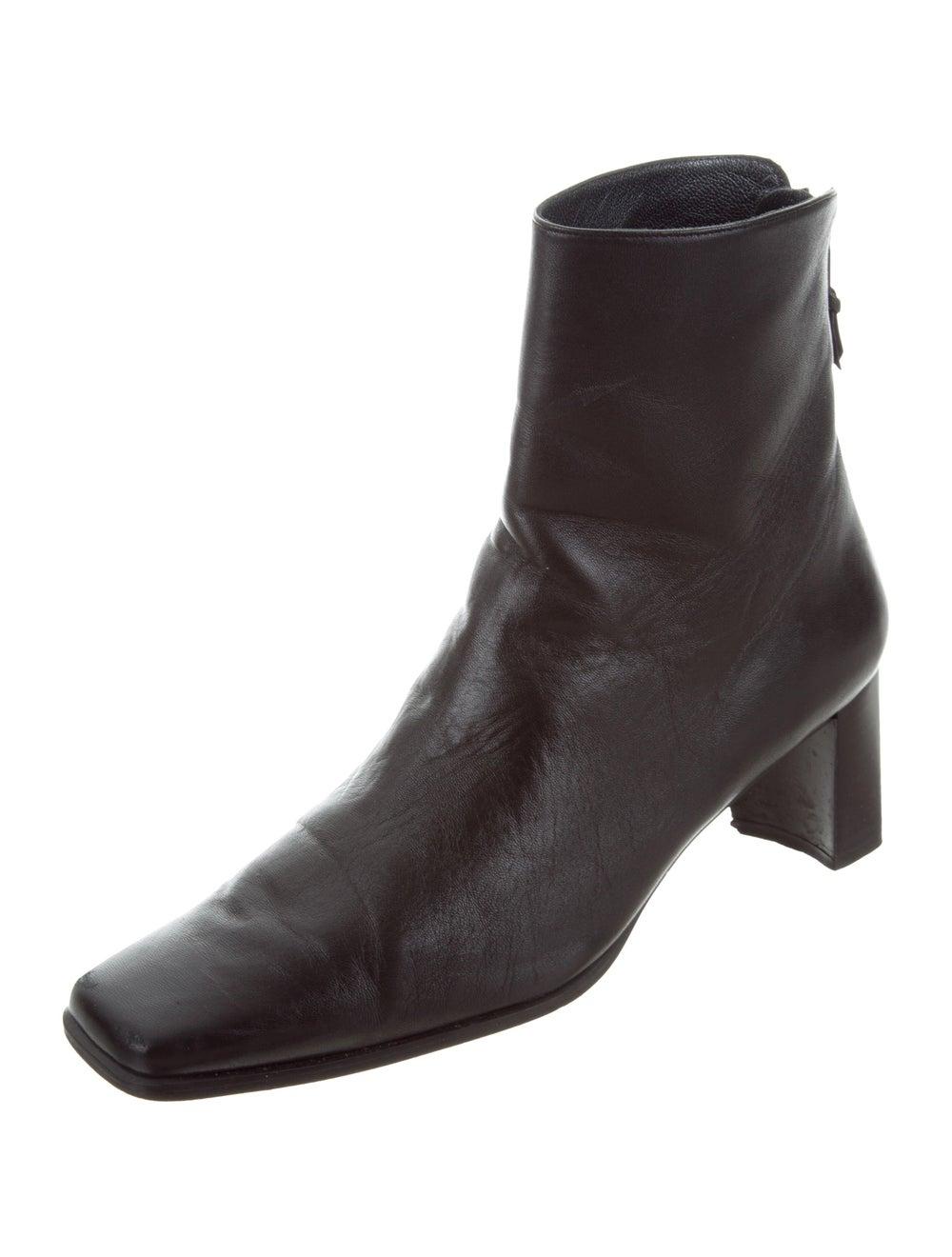 Stuart Weitzman Leather Square-Toe Ankle Boots Bl… - image 2