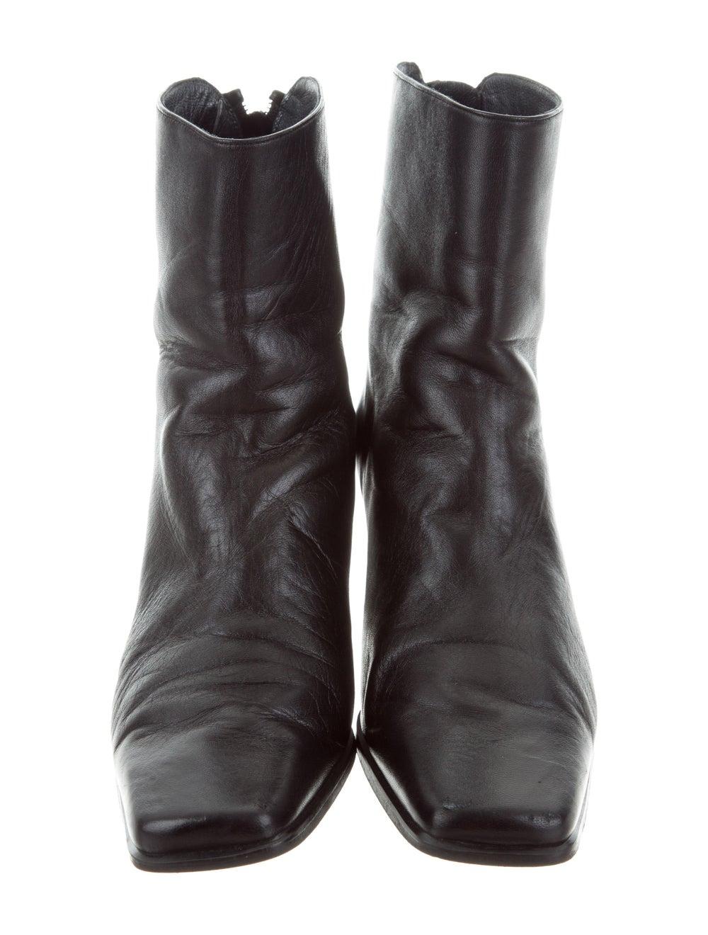 Stuart Weitzman Leather Square-Toe Ankle Boots Bl… - image 3