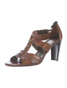 Stuart Weitzman Alligator Animal Print T-Strap Sandals