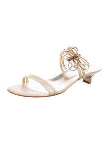Stuart Weitzman Leather Embroidered Accent Sandals