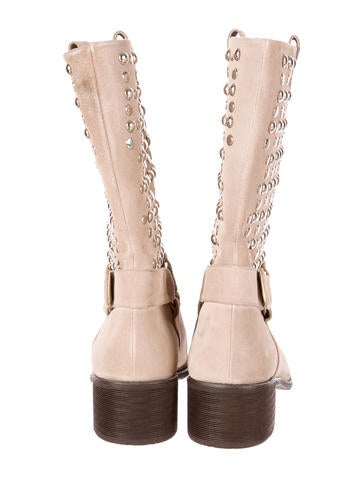 Studded Suede Moto Boots